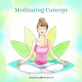 Concepto de meditación en acuarela con mujer sonriente
