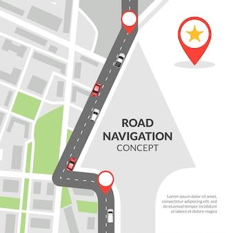 Concepto de navegación por carretera