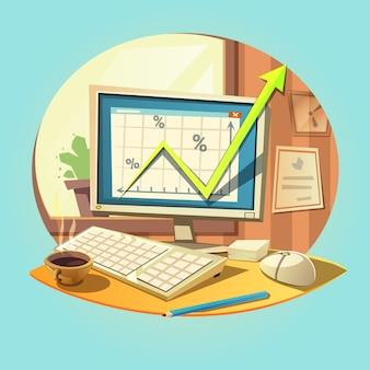 Concepto de negocio con la computadora portátil retro de la historieta en el escritorio de oficina