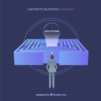 Concepto de negocio con laberinto de diseño plano