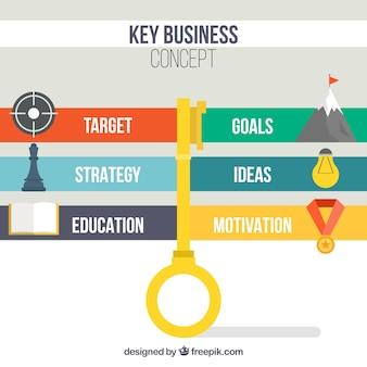 Concepto de negocio con llave con diseño de infografía