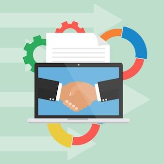 Concepto de negocio de digital online marketing.