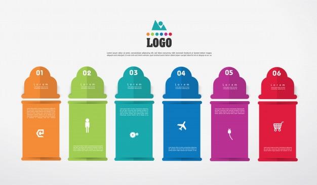 Concepto de negocio de infografía con 6 opciones.
