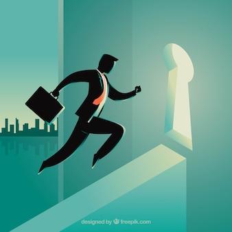 Concepto de negocios con cerradura y hombre de negocios
