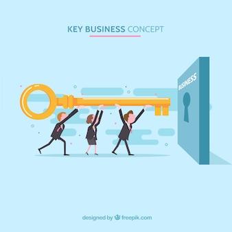 Concepto de negocios con llave en diseño plano