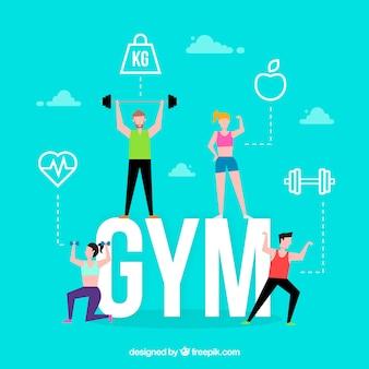 Concepto de palabra gym