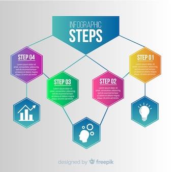 Concepto de pasos infográficos con efecto gradiente