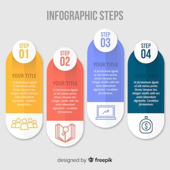 Concepto de pasos infográficos en diseño flat