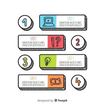 Concepto de pasos infográficos modernos