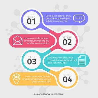 Concepto de pasos infográficos