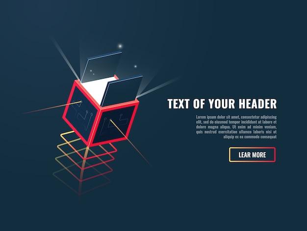 Concepto de producto de desempaque digital, nueva actualización o ruta, caja de tecnología unboxing