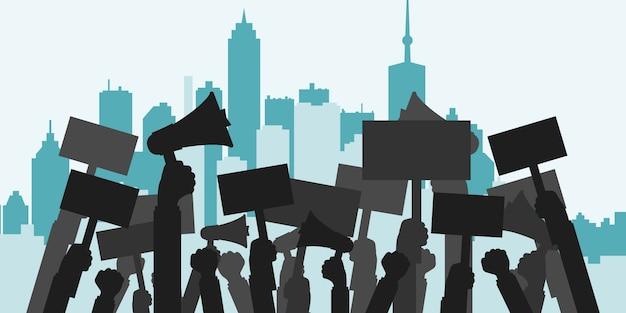 Concepto de protesta, revolución, conflicto