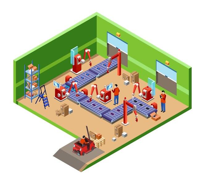 Concepto de sección transversal de la línea robótica fábrica de montaje automático isométrico
