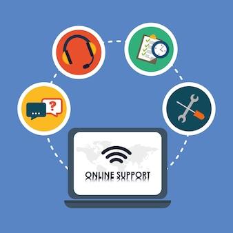 Concepto de soporte en línea con diseño de icono