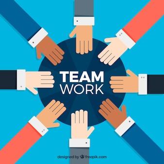 Concepto de teamwork con manos flat