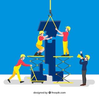 Concepto de teamwork con obreros