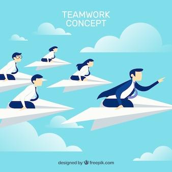 Concepto de teamwork en el cielo