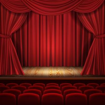 Concepto de teatro, lujosas cortinas de terciopelo rojo realistas con asientos de teatro escarlata