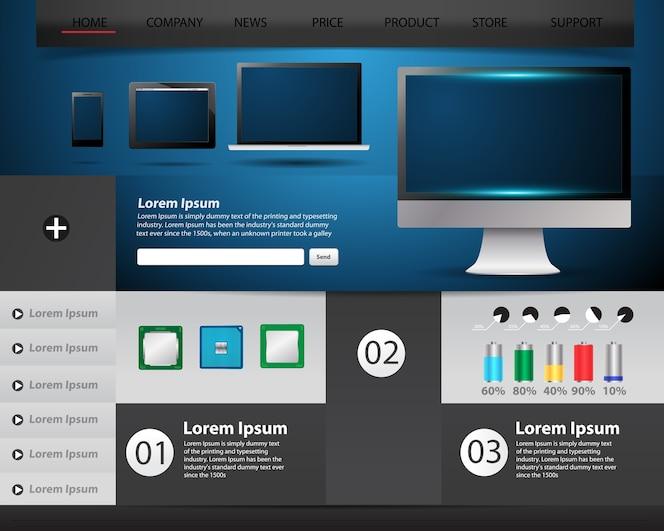 Concepto de tecnología de plantilla de sitio web