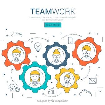 Concepto de trabajo en equipo a mano con tuercas