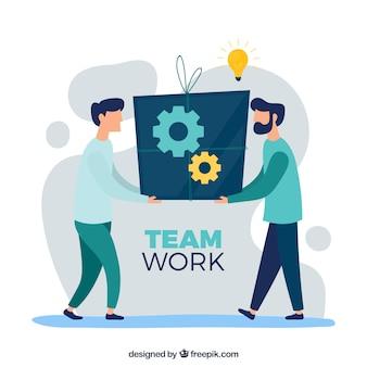 Concepto de trabajo en equipo con diseño plano