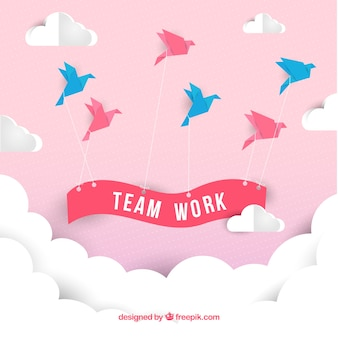 Concepto de trabajo en equipo con estilo de origami