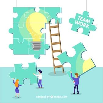 Concepto de trabajo en equipo moderno con diseño plano