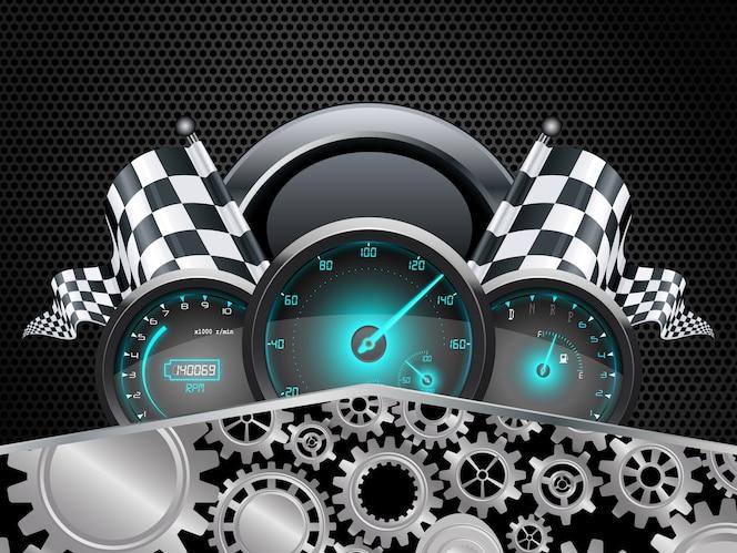 Concepto de velocímetro de coche de carreras