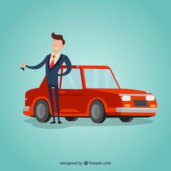 Concepto de vendedor de coches