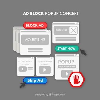 Concepto de ventana emergente de ad block con diseño plano