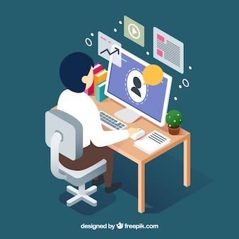 Concepto de webinar con hombre en escritorio