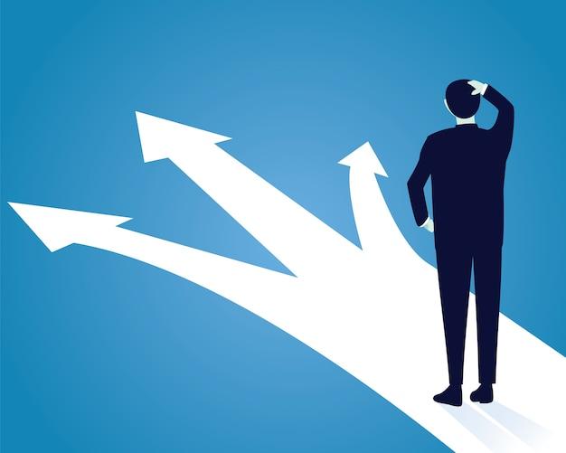 Concepto de decisión empresarial. confunde para elegir