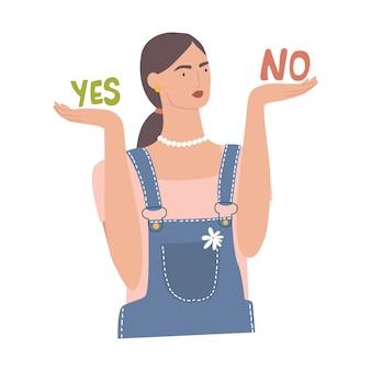 Concepto de decisiones de pesos de mujer. hembra tomando decisiones entre sí y no. chica decide, decisión difícil, concepto de dilema, solución de elección.
