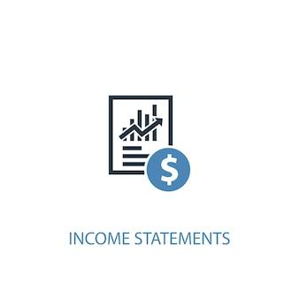 Concepto de declaraciones de ingresos 2 icono de color. ilustración simple elemento azul. diseño de símbolo de concepto de declaraciones de ingresos. se puede utilizar para ui / ux web y móvil