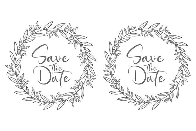Concepto decorativo dibujado a mano, insignias de boda hermosas y mínimas con estilo de círculo
