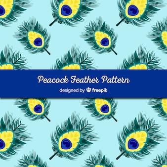 Concepto decorativo de patrón de plumas de pavo real