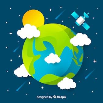Concepto del planeta tierra en estilo flat