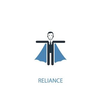 Concepto de dependencia 2 icono de color. ilustración simple elemento azul. diseño de símbolo de concepto de dependencia. se puede utilizar para ui / ux web y móvil