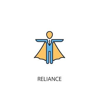 Concepto de dependencia 2 icono de línea de color. ilustración simple elemento amarillo y azul. concepto de dependencia diseño de símbolo de esquema