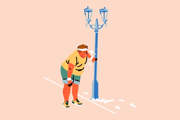 Concepto de deporte, atletismo, fatiga, trotar, sobrepeso, disnea