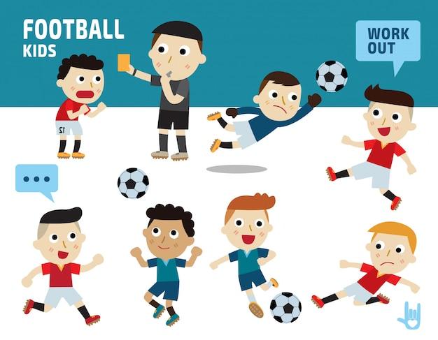 Concepto de deporte del fútbol. niños diversos de disfraces y posturas de acción.