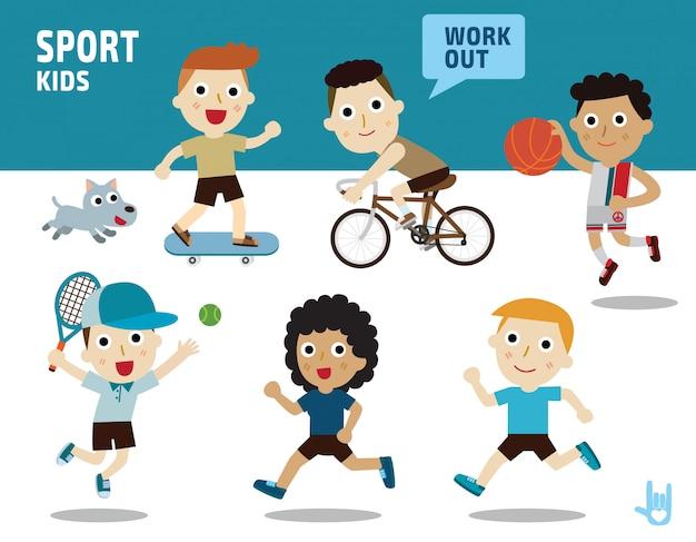 Concepto de deporte. niños diversos de disfraces y posturas de acción.