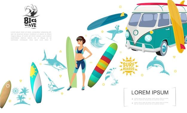 Concepto de deporte de surf colorido con surfista chica diferentes tablas de surf van de surf olas de mar palmeras sol tiburón delfín hombres windsurf y kitesurf ilustración