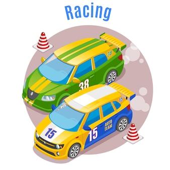 Concepto deportivo de carreras con pista de carreras y conos símbolos isométricos