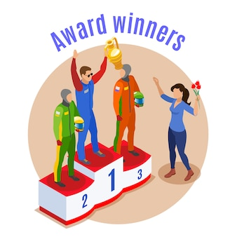 Concepto deportivo de carreras con símbolos de ganadores de premios isométricos