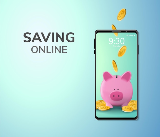 Concepto de depósito o ahorro de dinero digital en línea espacio en blanco en el teléfono