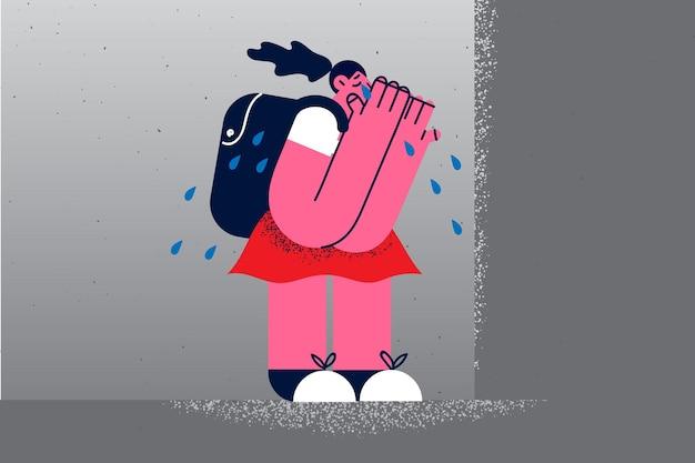 Concepto de depresión, abuso escolar y acoso. pequeña colegiala triste deprimida de pie sola llorando sintiéndose sola después de las lecciones escolares ilustración vectorial