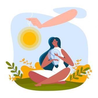 Concepto depresión mujer, mirada sentada infeliz, sufriendo soledad, aislado en blanco, diseño, ilustración de estilo plano.
