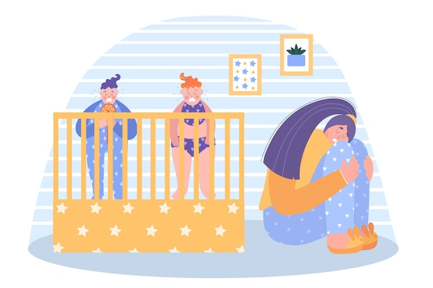 Concepto de depresión posparto. dos bebés gritan fuerte. mamá se sienta y llora. ilustración.