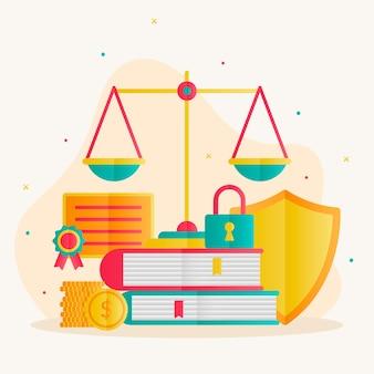 Concepto de derecho de patentes con balanza